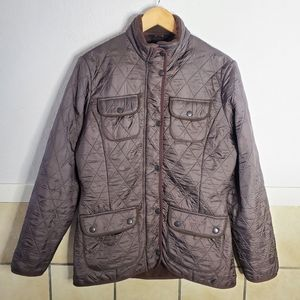 Barbour brown Utility Winter Quilted Coat Size 14